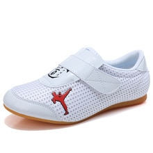 Taekwondo chaussures femmes respirant Wushu Kung Fu chaussures adolescents hommes Arts martiaux Taichi lutte karaté blanc baskets