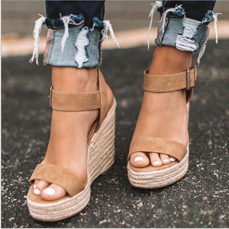 Women's sandals summer new sandals women's large size spot wedge buckle belt European  American open toe high heel women's shoes