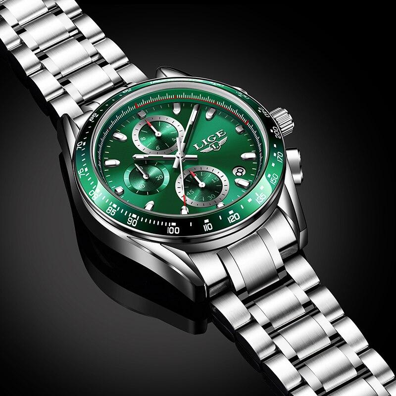 2021 New LIGE Luxury Top Brand Mens Sports Quartz Watches Stainless Steel Waterproof Chronograph Reloj Hombre Relogio Masculino