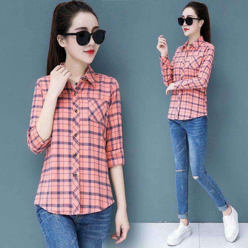 Korean Fashion Chiffon Women Shirts Office Lady Women Blouses Plaid Plus Size 5XL Red Womens Tops and Blouses Ladies Tops