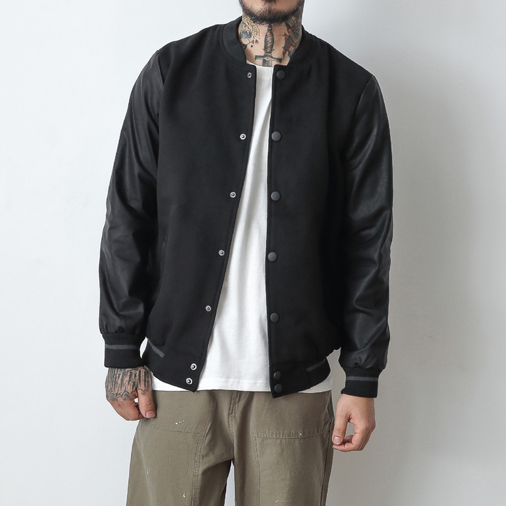 Cazadora de piel sintética para hombre, abrigos de béisbol informales de retales para otoño, Kanye West de Hip Hop universitarios, ropa de abrigo para hombre, M-5XL de talla grande