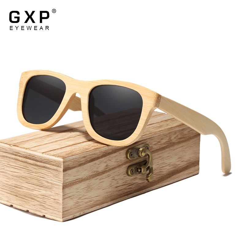 GXP Retro Style Natural bamboo Sunglasses Mirror Square Casual Eyewear 100%Polarized Lens UV400 Men Female Sun Glasses Gafas