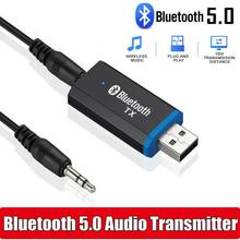 USB Bluetooth 5.0 Transmitter Receiver 2 in 1 Bluetooth Adapter Dongle 3.5mm AUX for TV PC Headphone