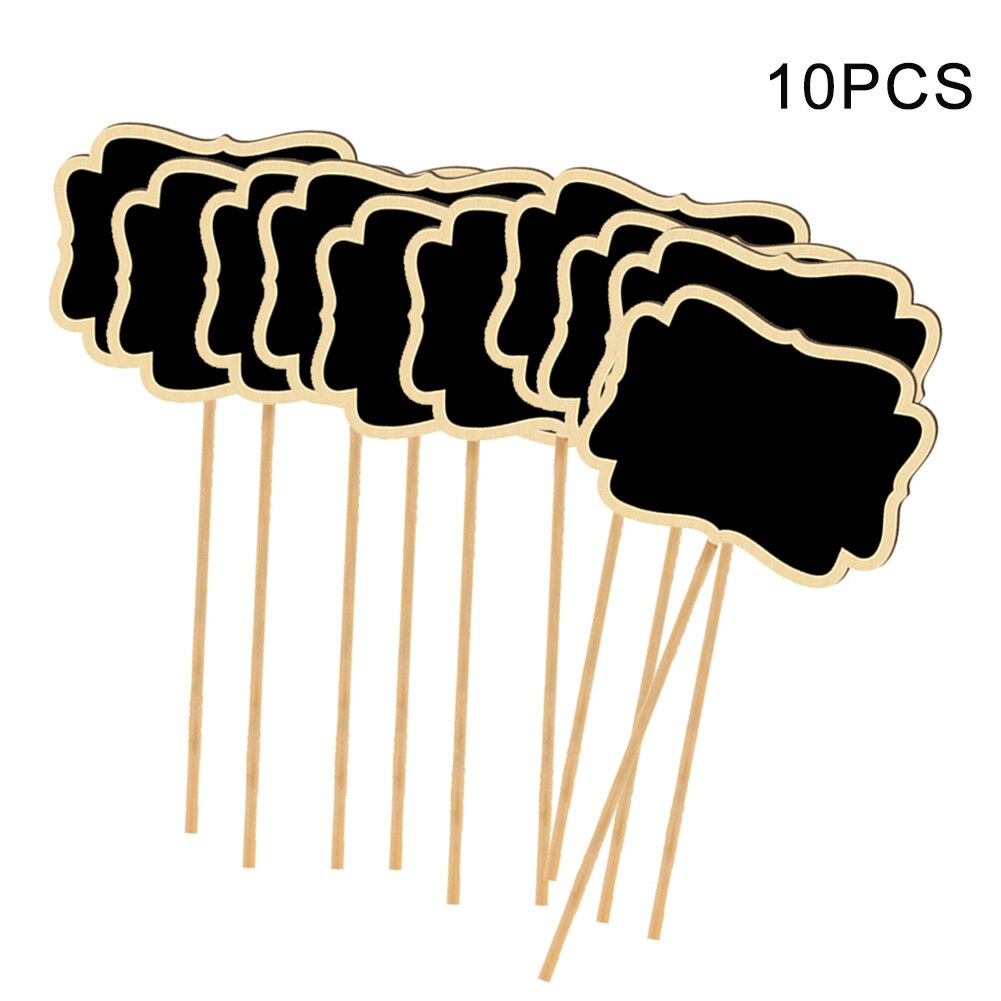 10pcs/set Garden Markers Easy Write Vegetable Labels With Blackboard Plant Tags T Type Wooden Home F