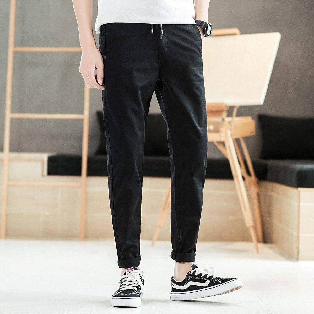 Yeni Rahat erkek Pamuklu ince pantolon Eğlence Düz Pantolon Moda İş Katı Uzun Bacak Kalem Pantolon Artı Boyutu Sıcak Satış f63