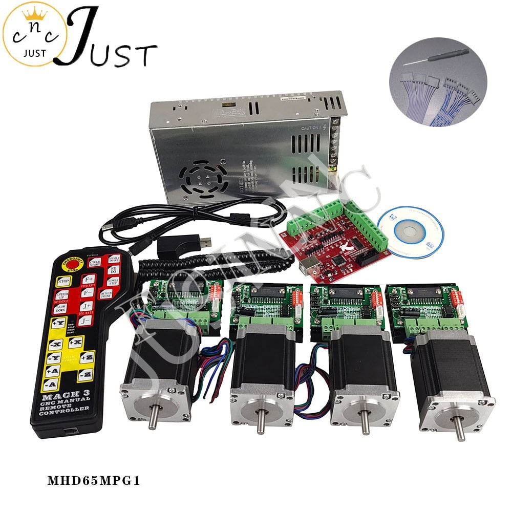 Promotion, CNC controller kit 4 axis, 4 TB6560 stepper motor driver Nema23 motor + power electronic handwheel control system 4 axis cnc breakout board parallel stepper motor driver module lv8727