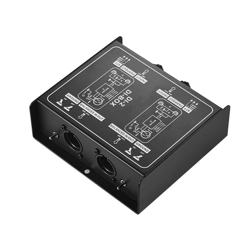 Profissional de Dupla-canal Caixa de Áudio Equilibrada e Desbalanceamento Conversor de Sinal Caixa Direta Di-box Passiva Injeção
