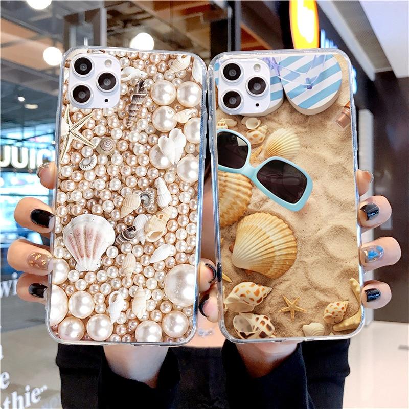 Summer Beach Sunshine Coast Shell Bikini Soft TPU Silicone Phone Cases For IPhone 11 Pro Max 6 6s 7 8 Plus X Xs Xr Cover