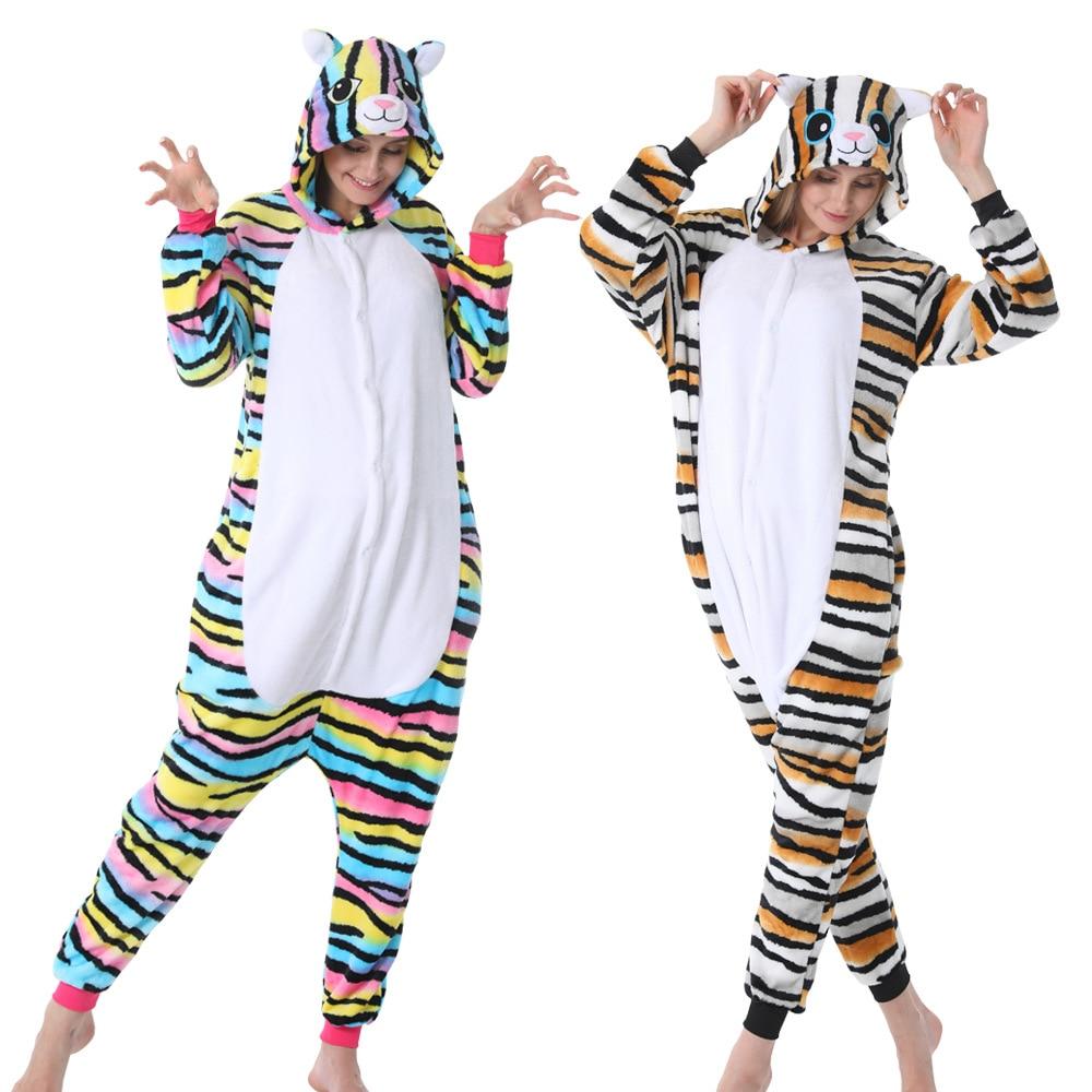Animal Colorful Cat Women Pajama Suit Onesie Kigurumis Sleepwear Flannel Soft Homewear Pijamas Cospaly Funny Party Costume women kigurumis pajama onesie pink pig funny sleepwear adult party suit flannel overalls cartoon homewear unisex costume