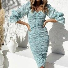 OLOME 2020 Spring Summer Bohemian Knee-length Elegant Dress Women Floral Print Sashes High Waist Holiday Dresses
