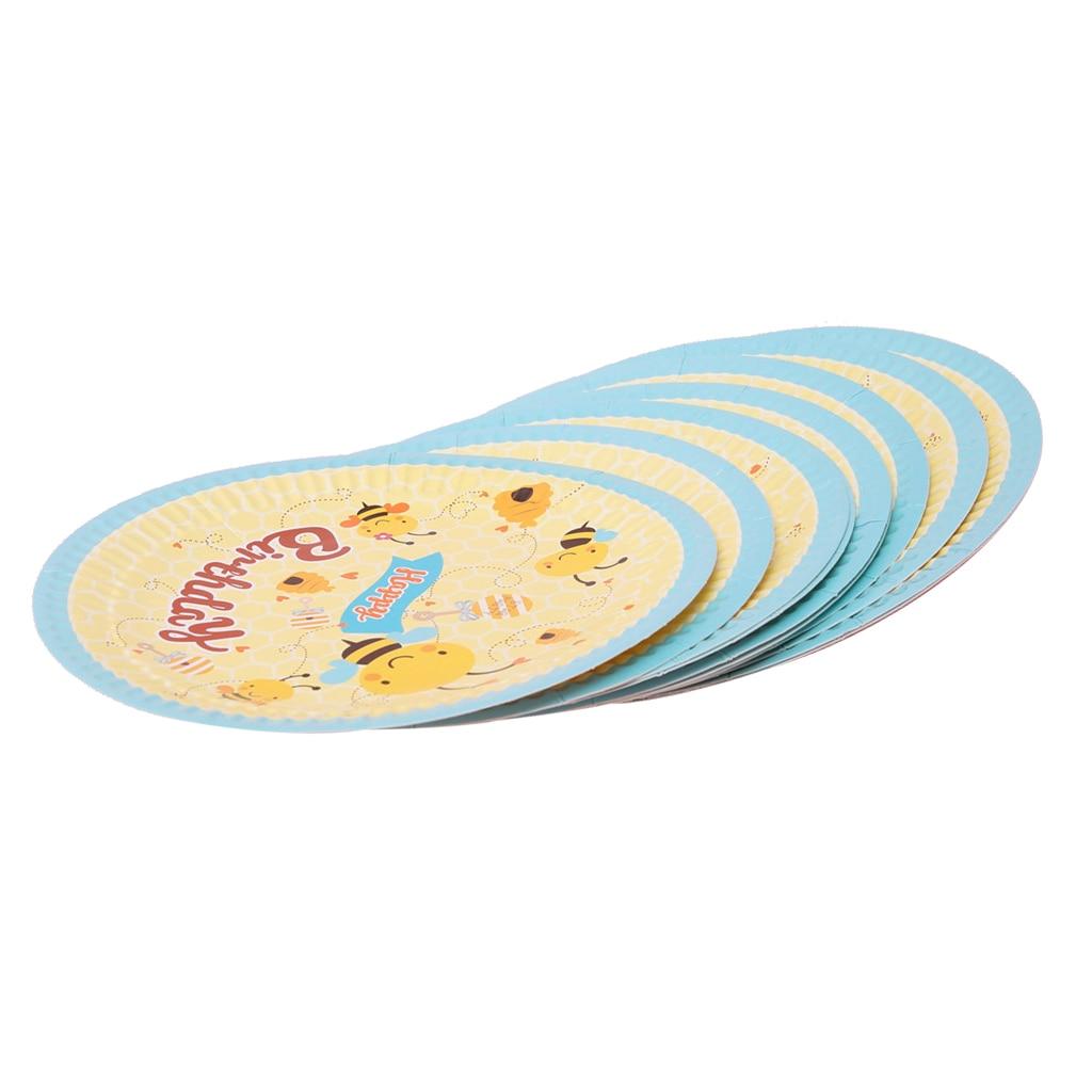 10pcs Cute Bee Disposable Paper Plates Party Serveware Decoration