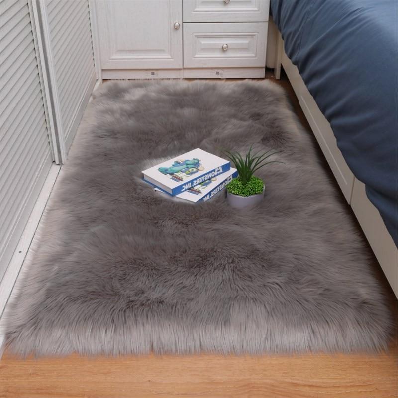 AliExpress - Bedroom Carpet Soft Fluffy Sheepskin Fur Area Rugs Nordic Red Center Living Room Carpet Bedroom Floor White Faux Fur Bedside Rug