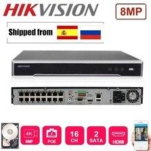 Hikvision-ports 16CH NVR   version anglaise/16P, ports 16POE, avec 2 ports SATA, prise et jeu, NVR H.265