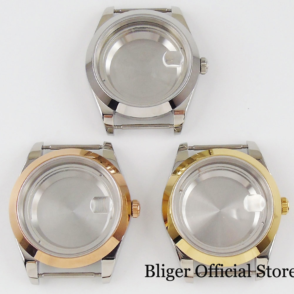Case para Eta Polido Mecânico Automático Relógio Miyota 8215 Safira Cristal Mental Volta 2836