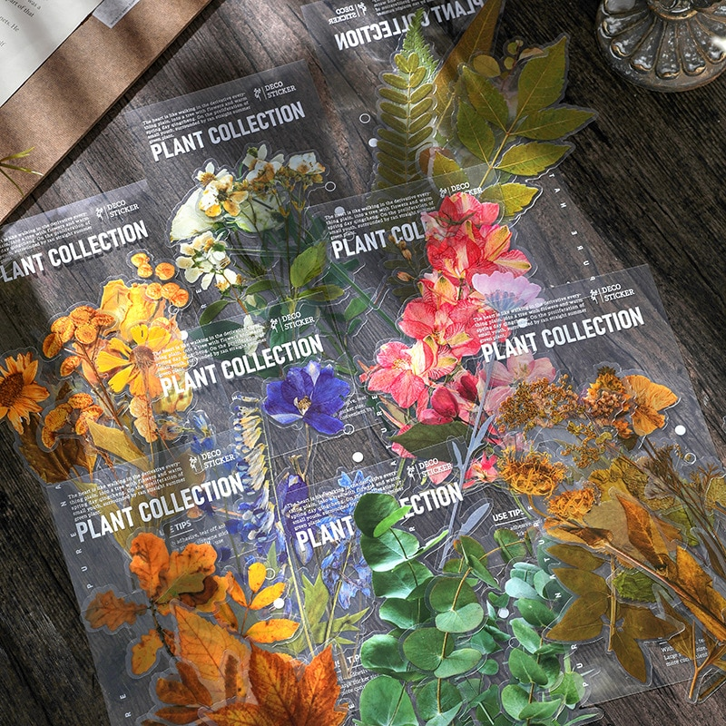 juego-de-pegatinas-de-flores-y-hojas-6-hojas-transparente-flores-decorativas-serie-de-plantas-calcomanias-de-gran-tamano-para-planificador-de-bloc-de-notas