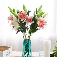 1pcs lily silk cloth artificial flower wedding decoration diy wreath gift decoration home craft plant fake flower