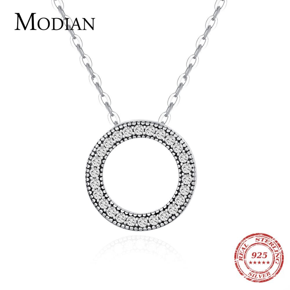 Modian Romantic Real 925 Sterling Silver Fashion Round Hearts Necklace For Women Fantastic Life Wedding Necklaces Jewelry Gift