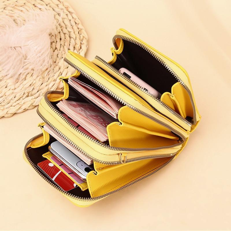 3 Layers Large Capacity Wallet Women Big Money Organizer Phone Bag Credit Card Holder 2021 New Small Phone Purse Shoulder Bag