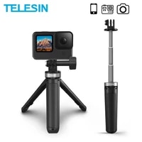 telesin mini selfie stick portable aluminium alloy plastic adjustable for gopro 9 osmo action insta360 for iphone android camera