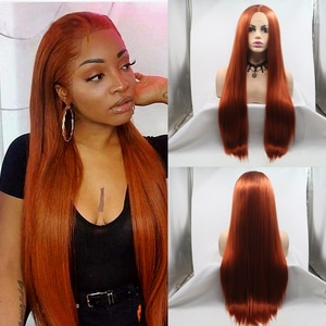 Baicheng Orange Ginger Brazilian Lace Front Synthetic Hair Wigs For Women Straight Lace Front Wig T Part Lace Frontal Wig