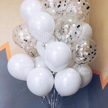 30 قطعة بالونات الزفاف سعيد الأبيض الفضة النثار الهليوم بالون حفلة عيد ميلاد الديكور الكبار معدن الكروم بالون اللاتكس