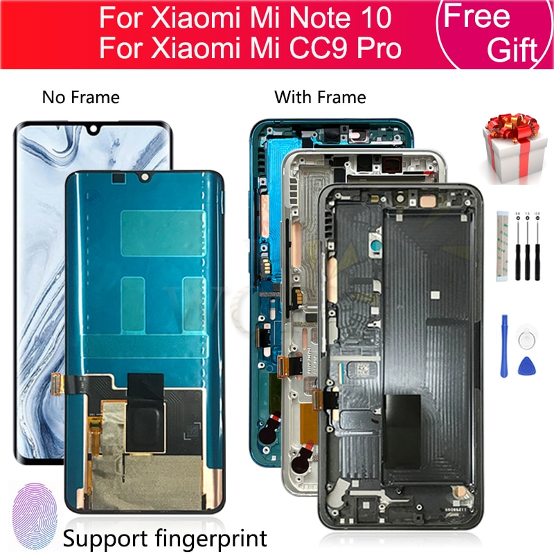 ЖК-дисплей с сенсорным экраном в сборе для Xiaomi Mi Note 10, дигитайзер M1910F 4G + рамка для mi note10 Pro, сменный экран для CC9 Pro