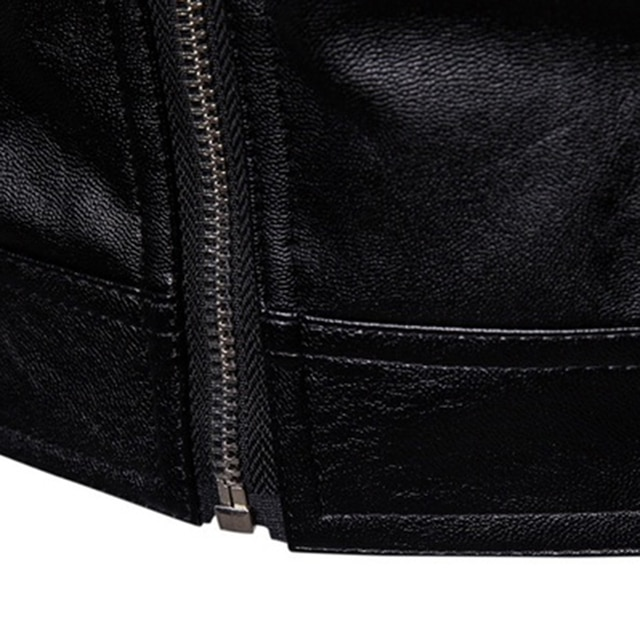 The New Spring And Autumn 2021 Men's Korean Version Slim-Fitting Stand-Up PU Leather Jacket Plus Size M-5XL 8
