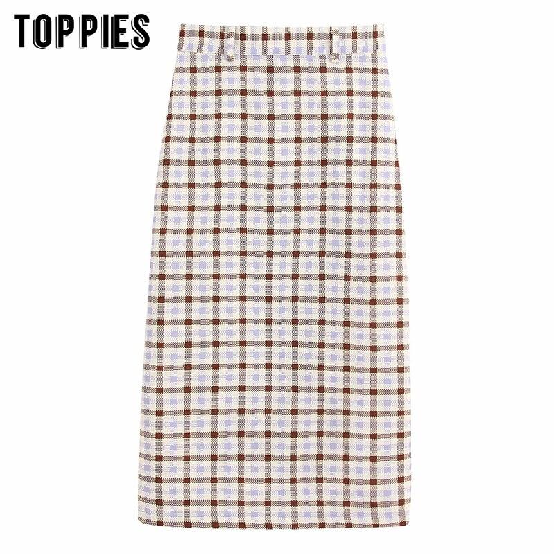 Vintage lattice faldas a media pierna de Mujer faldas de cintura alta recta OL faldas 2020 ropa de calle de primavera