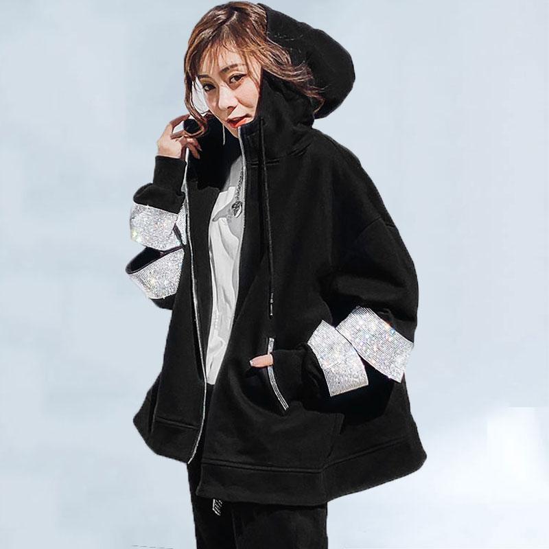2020 otoño Popular abrigo mujer estación europea suelta con capucha industria pesada cremallera BF suelto coreano Casual abrigo mujeres marea 233
