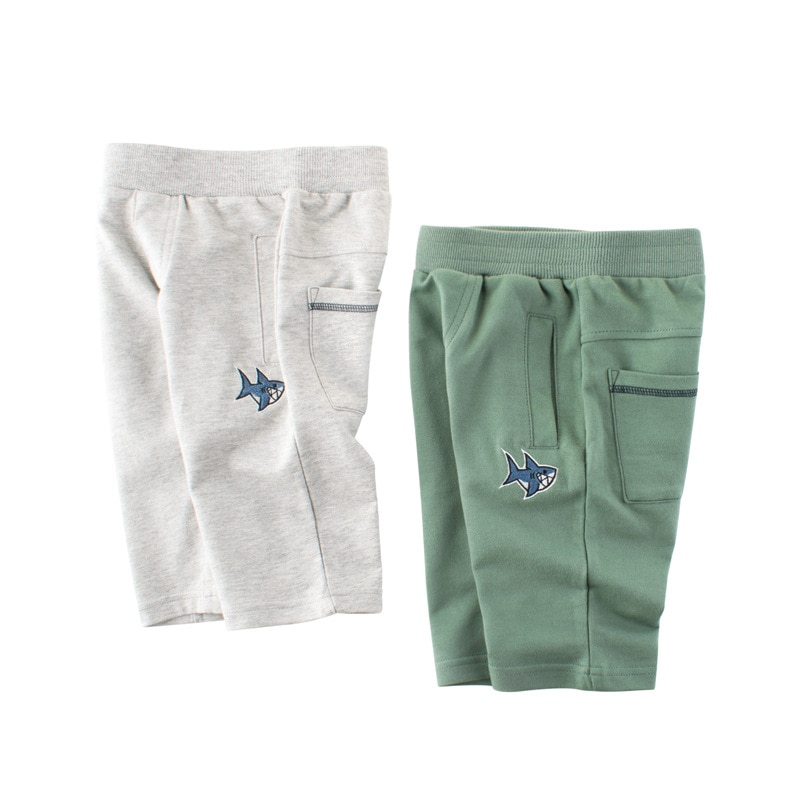Spring-autumn 2-8y Children Cartoon Trousers Boys Brand New Clothing Sports Cropped Pants Baby Fish Pattern