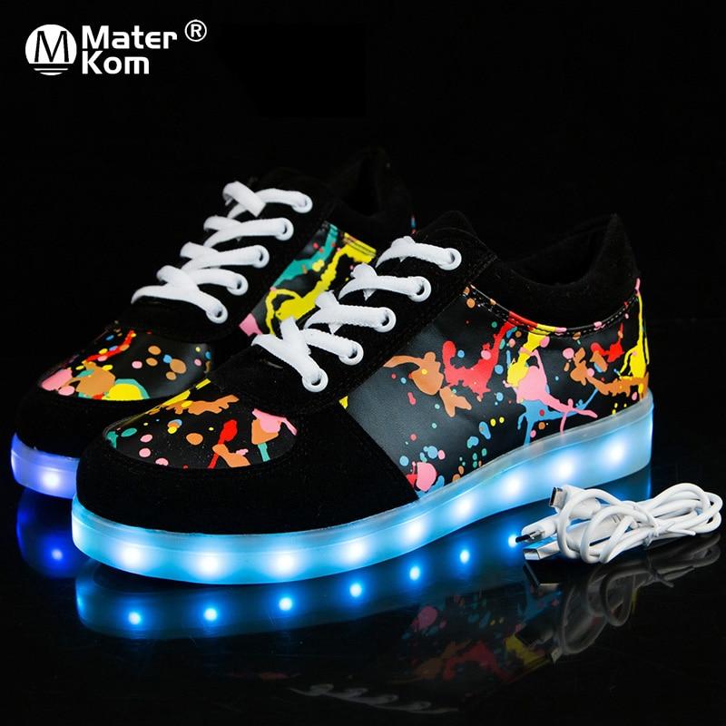 أحذية رياضية لامعة للأطفال مقاس 27-41 ، أحذية خفيفة للأولاد والبنات ، نعل مضيء بإضاءة خلفية