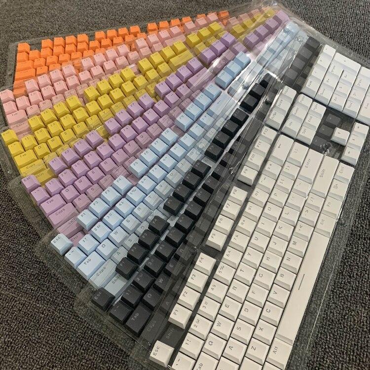 Высота PBT низкий ключ крышка для механической клавиатуры многоцветный 104 светильник PBT сплошной цвет подсветка светильник ключ крышка s Заме...