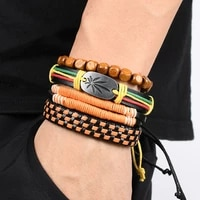 jamaica reggae red yellow green woven leather bracelet diy leather jewelry hip hop street dance fashion charm bracelets for men