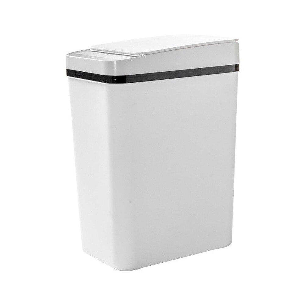 White Rectangle Smart Trash Bin Bedroom Automatic Kitchen Trash Can Garbage Bag Holder Rangement Cuisine Household Cleaning Tool enlarge
