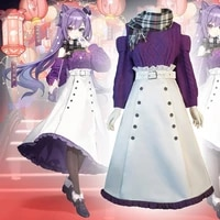 game genshin impact cosplay costumes keqing driving thunder cosplay costume uniforms purple suits dresses casual clothes warm