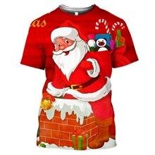 3D พิมพ์คริสต์มาส Santa Claus น่ารักกวางของขวัญ Snowman Tshirt ผู้หญิงผู้ชาย Harajuku Streetwear ลำลองเสื้อยืด Top