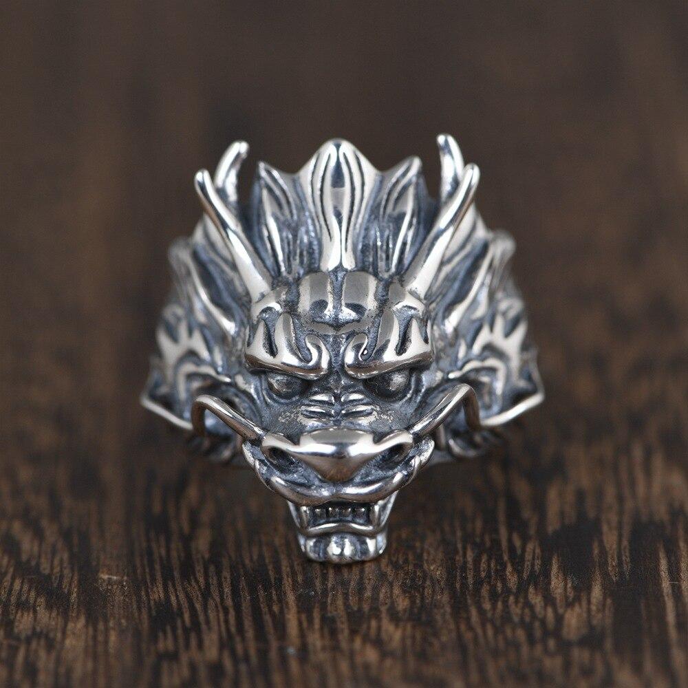 خاتم فضة 925 أصلي من الفضة الإسترليني عيار 925 للرجال خاتم دراجون خاتم زفاف قابل للتعديل لأفضل هدية