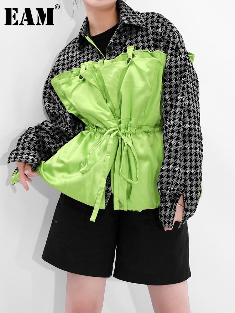[EAM] فضفاضة تناسب الأخضر منقوشة كبيرة الحجم الرباط سترة جديدة التلبيب كم طويل المرأة معطف الموضة المد الربيع الخريف 2021 1B73506
