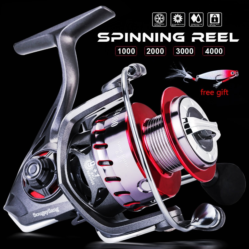Sougayilang 9+1BB Feeder Spinning Fishing Reel 5.2:1/6.2:1 High Speed Gear Ratio Alluminum Spool Freshwater Carp Fishing Reel tsurinoya flying shark 6 2 1 high speed fishing reel 4000 5000 spinning reel 11 1bb 12kg drag aluminum spool carp fishing tackle