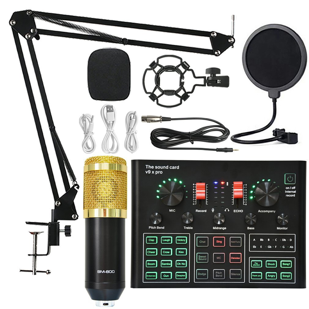 BM800 Condenser Microphone Sound Card V9X PRO Mixer Live Broadcast Recording Set Mic Phone K Song Computer Karaoke Sing janet e tobitt sing me your song