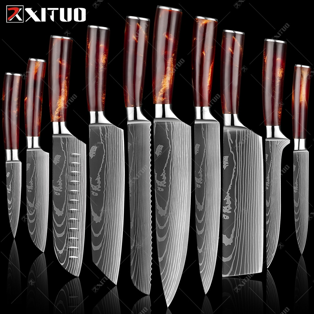 XITUO kitchen knives Set Laser Damascus pattern chef knife Sharp Santoku Cleaver Slicing Utility Knives Resin Handle Best Gift