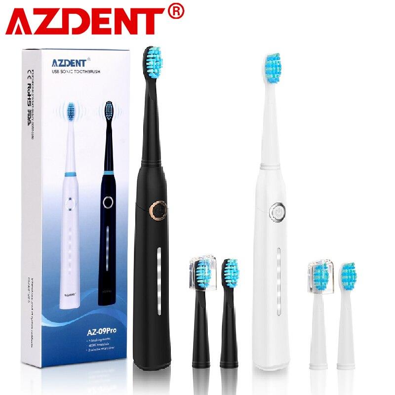 AZDENT الموضة 5 طرق فرشاة أسنان كهربائية بالموجات الصوتية USB قابل لإعادة الشحن الترا سونيك فرشاة أسنان مقاوم للماء للكبار تبييض الأسنان
