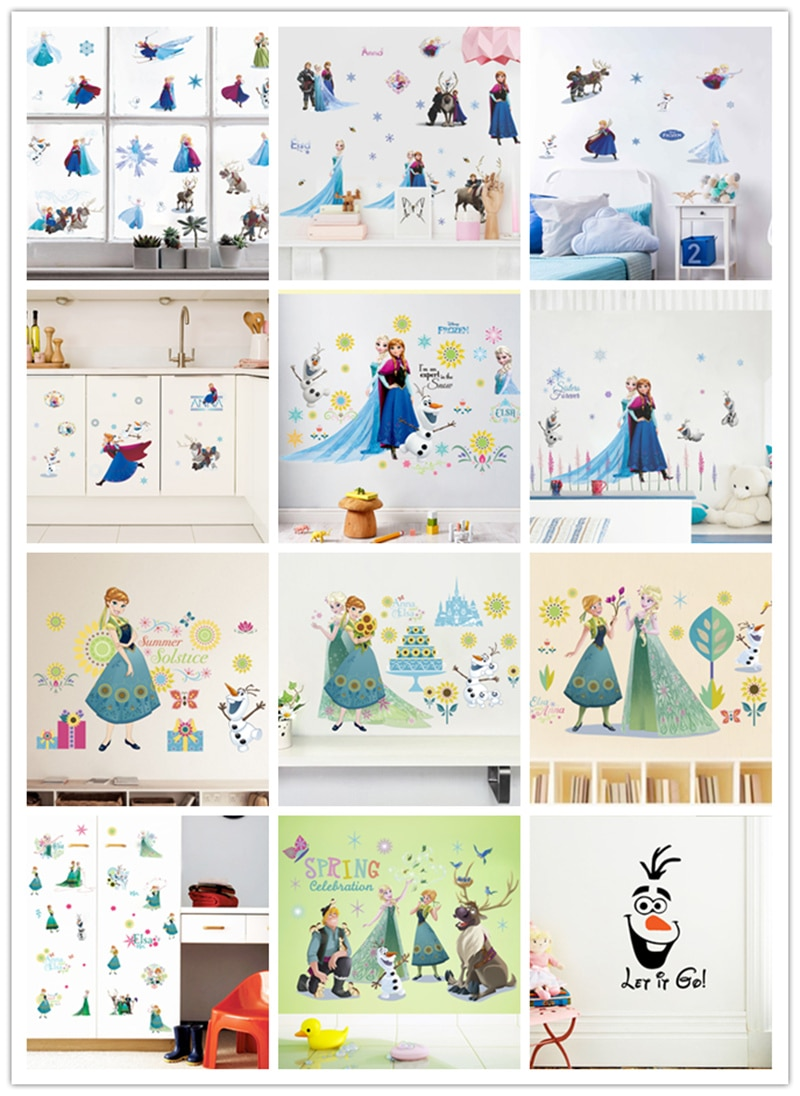 % Nueva caricatura Elsa Anna princesa sala de estar habitación infantil arte pegatinas jardín de infantes decoración de la pared de la princesa