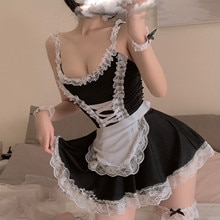 Women Sexy Lace Maid Splicing Sling Siamese Thong Underwear Maid Skirt Dress Stage Performance Story Party Waitress Clothes
