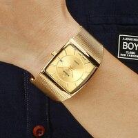 Часы наручные WWOOR Мужские кварцевые ультратонкие, брендовые Роскошные модные водонепроницаемые с квадратным циферблатом, стальной сетчаты...