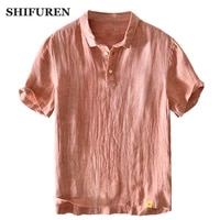 shifuren mens summer thin breathable 100 linen short sleeve shirts tops causal male social shirts masculina camisas hombre