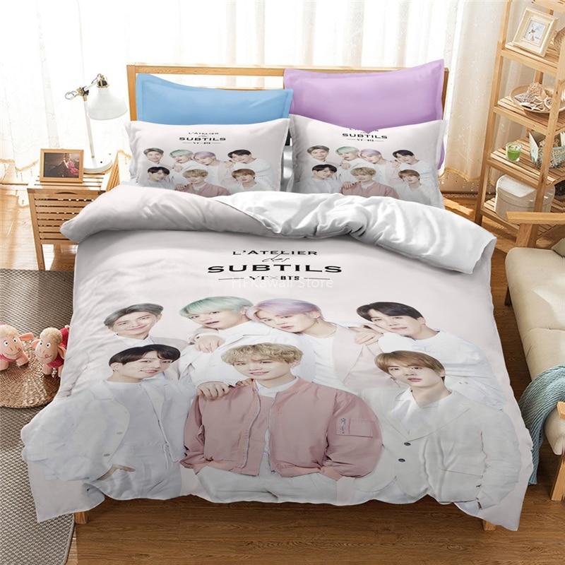 Popular Bangtan Boys Printed Bedding Set MAP OF THE SOUL7 Album Duvet Cover Pillowcase Bed Linen Set Bedclothes Double King Size