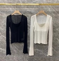 2021 new women fashion inner strap decoration v neck solid color long sleeved wild two piece jacket 806
