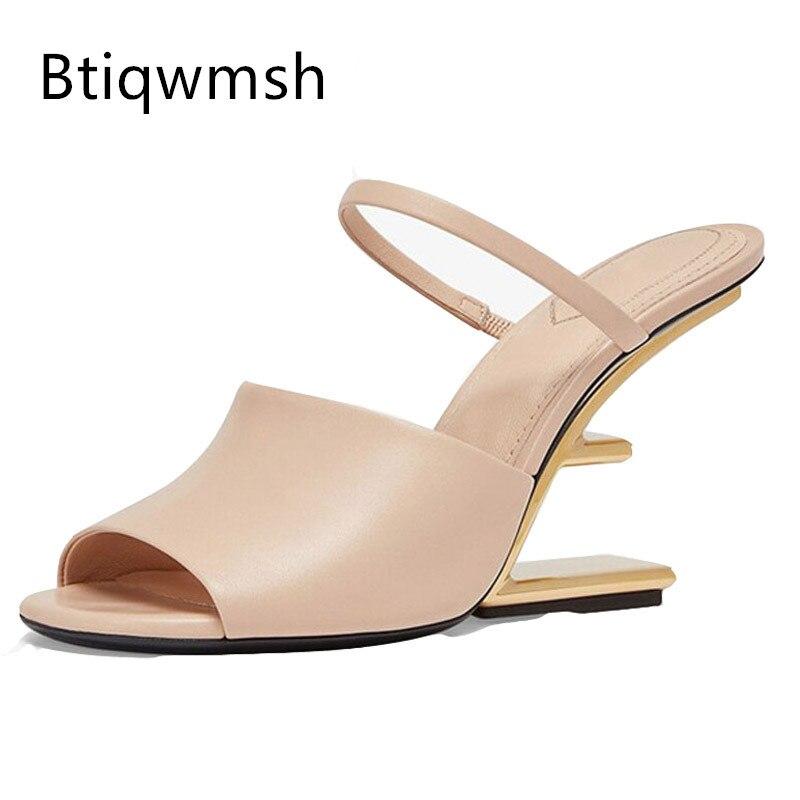 شيك تصميم صنادل طراز جلاديتور المرأة المفتوحة تو براون لينة الجلد الحقيقي الذهب معدن غريب أحذية عالية الكعب امرأة مثير البغل النعال