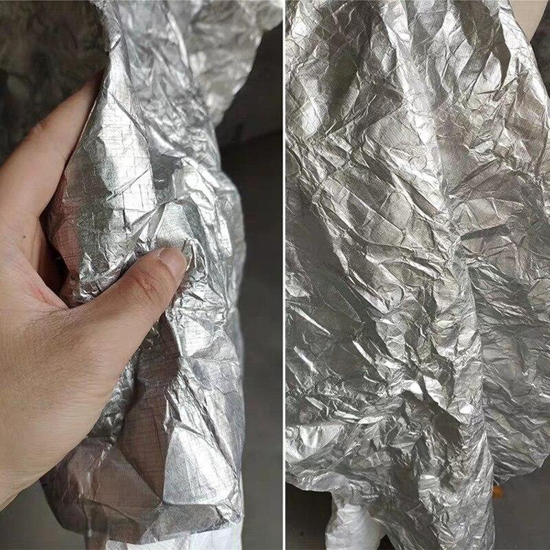 Tyvek macio lavar respirar papel brilhante prata rasgando resistente à prova ddiy água diy sacos carteira artesanato papel roupas designer tecido